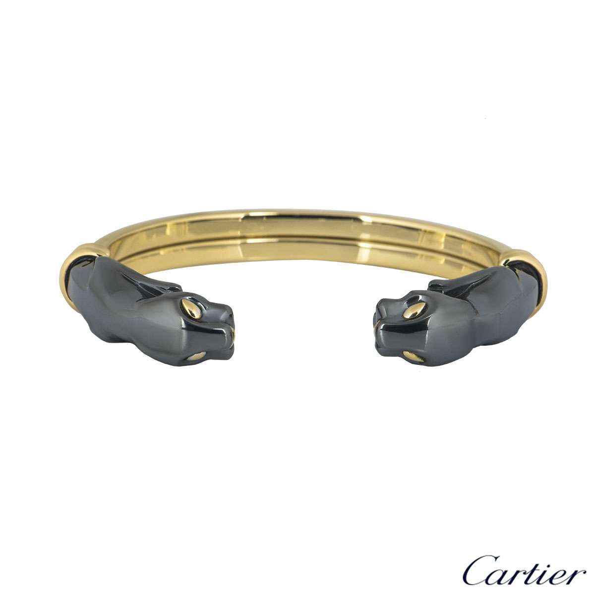 Cartier Yellow Gold & Hematite Panthere Cuff Bracelet
